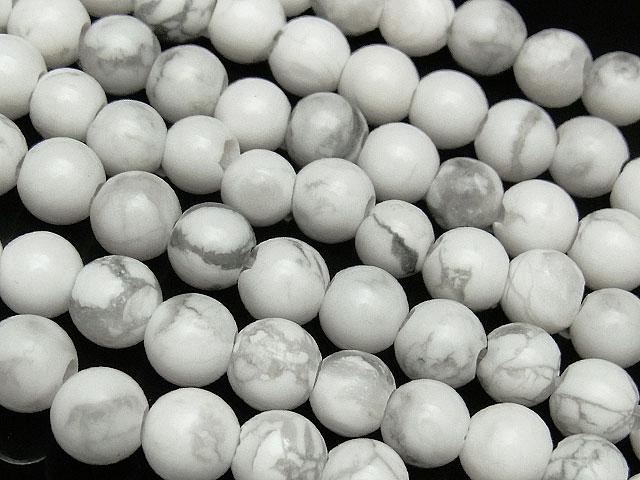 天然石【連販売】ハウライト 丸玉 6mm[2mm穴]【1連 700円】ビーズとパワーストーン