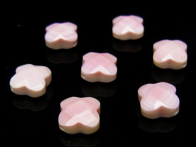 ビーズ天然石【粒販売】クイーンコンクシェル クローバーカット 10×5mm 【4粒販売 560円】とパワーストーン