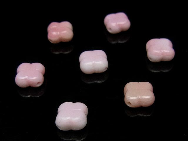 天然石【粒販売】クイーンコンクシェル クローバー 8×4mm 【5粒販売 450円】ビーズとパワーストーン