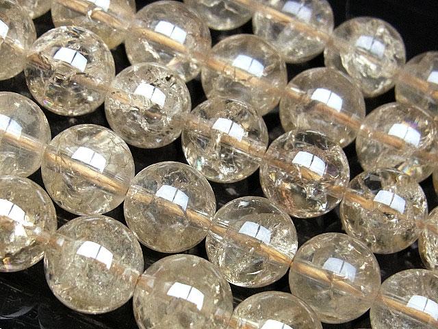 ビーズ天然石【連販売】クラックシャンパンカラークォーツ 丸玉 10mm【1連 1,200円】とパワーストーン