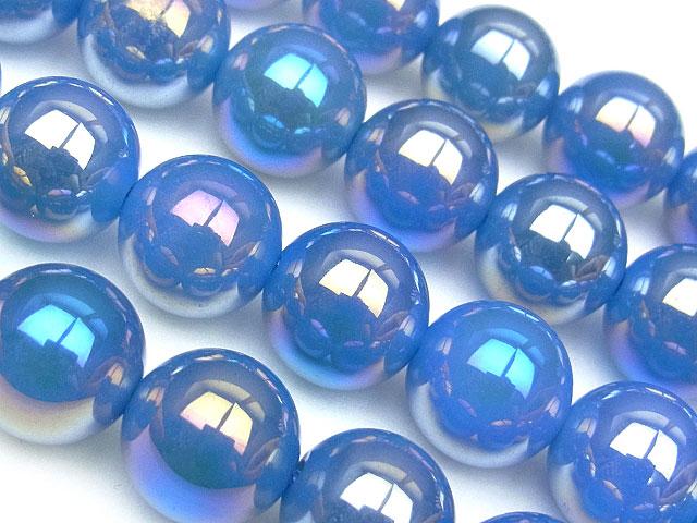 天然石【連販売】フラッシュブルーアゲート 丸玉 12mm【1連 1,100円】ビーズとパワーストーン