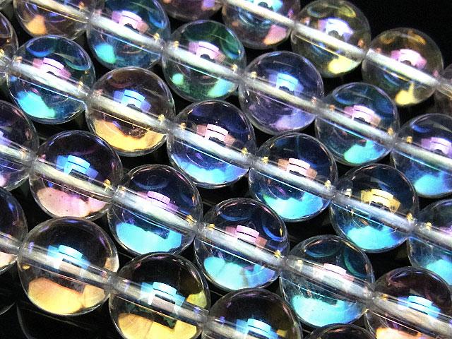 天然石【連販売】レインボーオーラ 丸玉 10mm【半連 720円〜】ビーズとパワーストーン