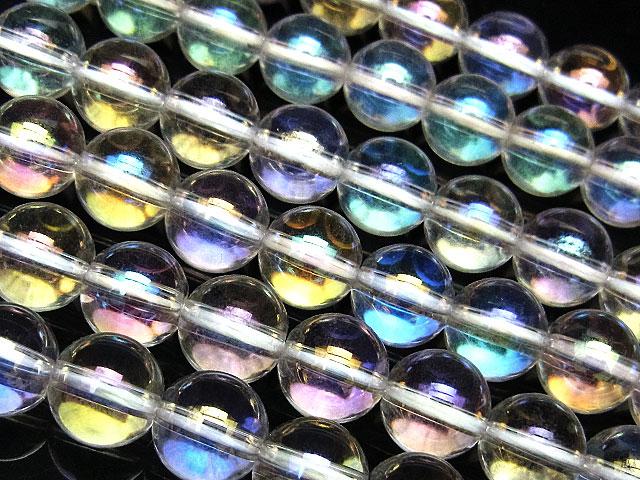 天然石【連販売】レインボーオーラ 丸玉 8mm【1連 1,100円】ビーズとパワーストーン