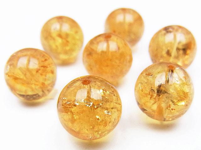 天然石【粒販売】シトリン 丸玉 12mm【2粒販売 1,040円】ビーズとパワーストーン