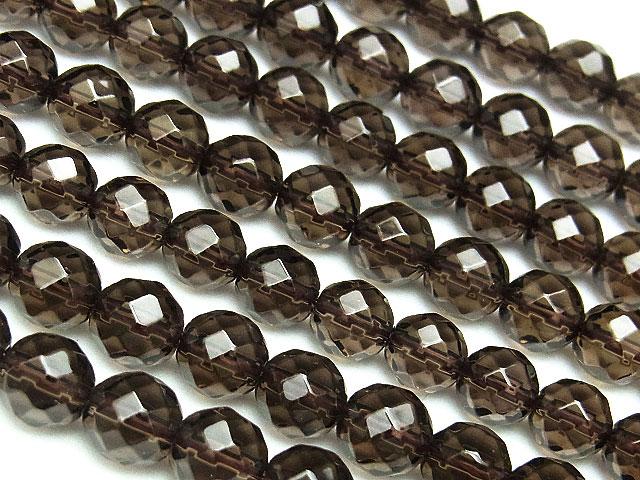 天然石【連販売】スモーキークォーツ 64面カット 丸玉 6mm【1連 1,000円】ビーズとパワーストーン