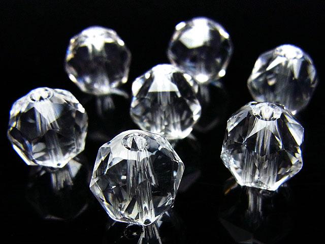 天然石【粒販売】天然水晶 クリスタルクォーツ スターカット 丸玉 10mm[プレミアムカット]【3粒販売 460円】ビーズとパワーストーン