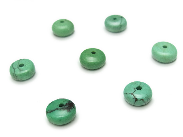 天然石【粒販売】ターコイズ ロンデル 6×3mm【10粒販売 390円】ビーズとパワーストーン