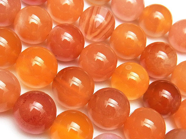天然石【連販売】オレンジボツワナアゲート 丸玉 10mm【半連 1,100円〜】ビーズとパワーストーン