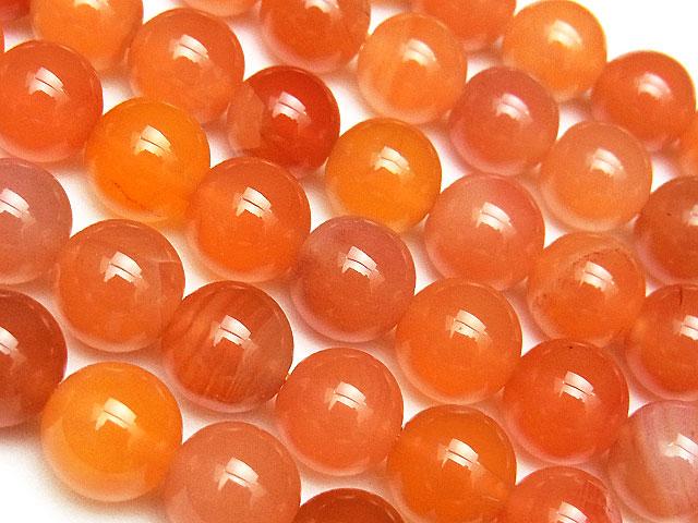 天然石【連販売】オレンジボツワナアゲート 丸玉 8mm【半連 830円〜】ビーズとパワーストーン
