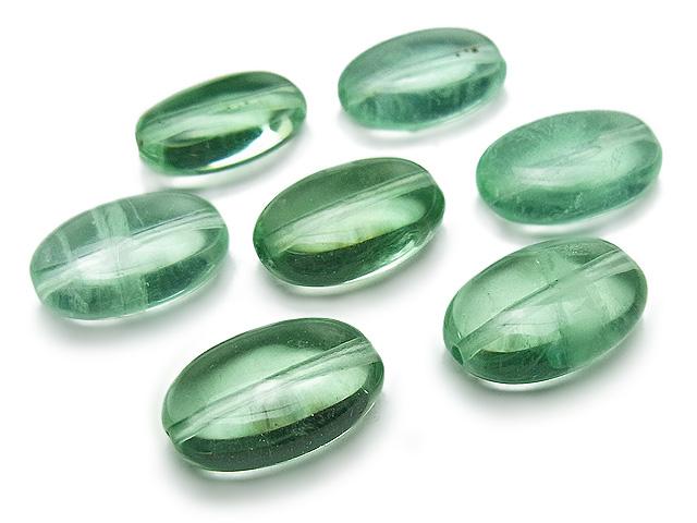天然石【粒販売】グリーンフローライト オーバル 14×10×6mm【4粒販売 480円】ビーズとパワーストーン