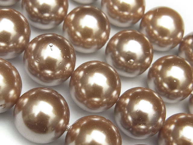 天然石【連販売】貝パール(シェルパール) ブラウンカラー 丸玉 12mm【1連 700円】ビーズとパワーストーン