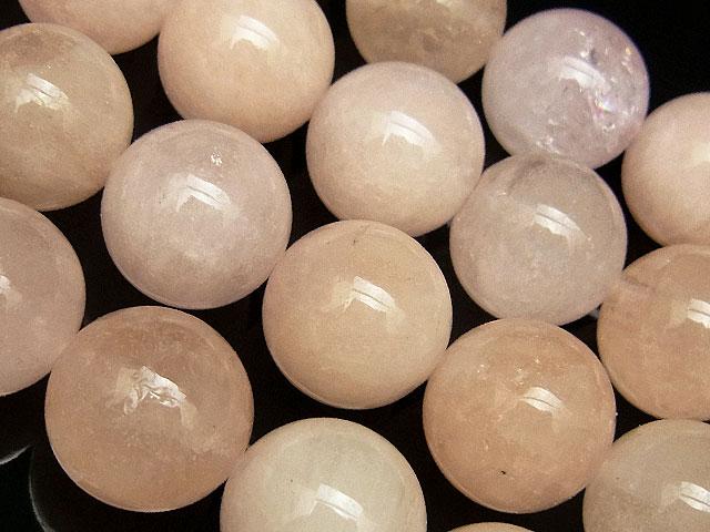 天然石【連販売】ピンクアクアマリン(モルガナイト) 丸玉 12mm【半連 3,580円〜】ビーズとパワーストーン