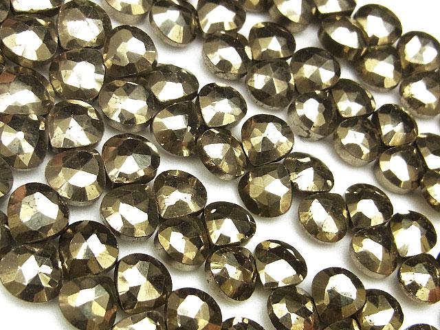 天然石【連販売】ゴールデンパイライト マロンカット 4〜6mm【半連 830円〜】ビーズとパワーストーン