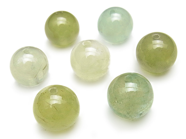 天然石【粒販売】マルチカラーグリーンベリル 丸玉 10mm【4粒販売 3,480円】ビーズとパワーストーン