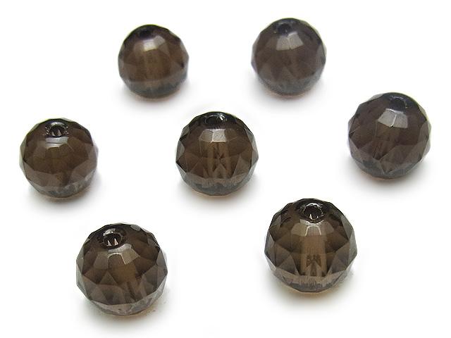 ビーズ天然石【粒販売】スモーキークォーツ トライアングルカット 丸玉 8mm【6粒販売 360円】とパワーストーン