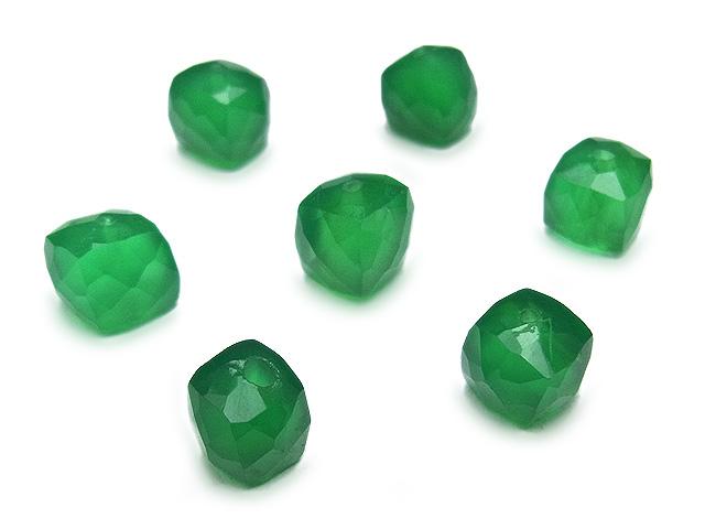 天然石【粒販売】グリーンオニキス キューブカット 5〜6mm【4粒販売 520円】ビーズとパワーストーン