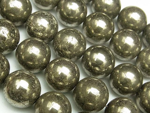 天然石【連販売】ゴールデンパイライト 丸玉 10mm【1連 1,100円】ビーズとパワーストーン