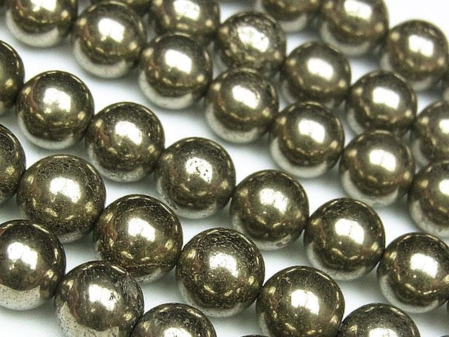 天然石【連販売】ゴールデンパイライト 丸玉 8mm【1連 800円】ビーズとパワーストーン