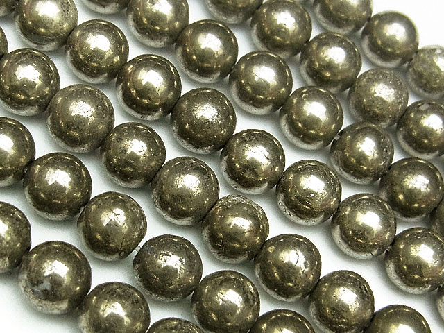 天然石【連販売】ゴールデンパイライト 丸玉 6mm【1連 700円】ビーズとパワーストーン