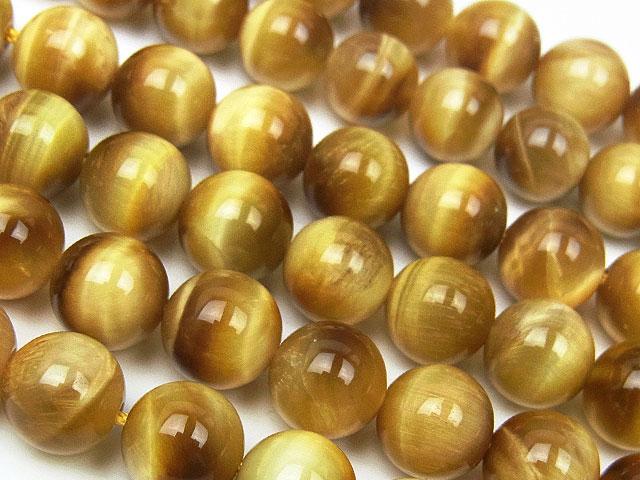 天然石【連販売】ゴールデンタイガーアイ 丸玉 8mm【半連 1,100円〜】ビーズとパワーストーン