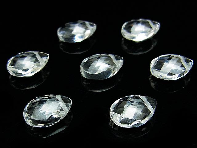 天然石【粒販売】天然水晶 クリスタルクォーツ ペアシェイプカット 10×7mm[プレミアムカット]【2粒販売 620円】ビーズとパワーストーン