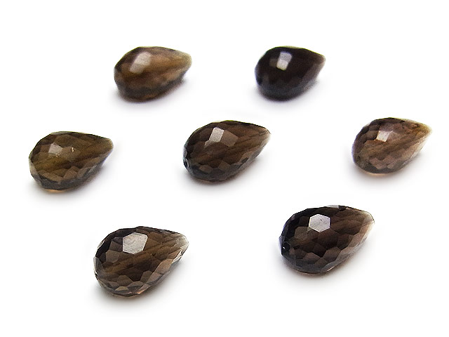 ビーズ天然石【粒販売】スモーキークォーツ ドロップカット 8〜10mm[縦穴]【6粒販売 700円】とパワーストーン