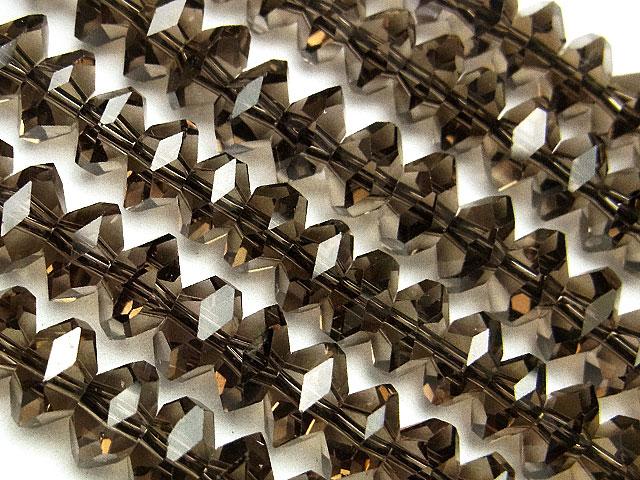 天然石【連販売】スモーキークォーツ ボタンカット 7×4mm[プレミアムカット]【半連 2,200円〜】ビーズとパワーストーン