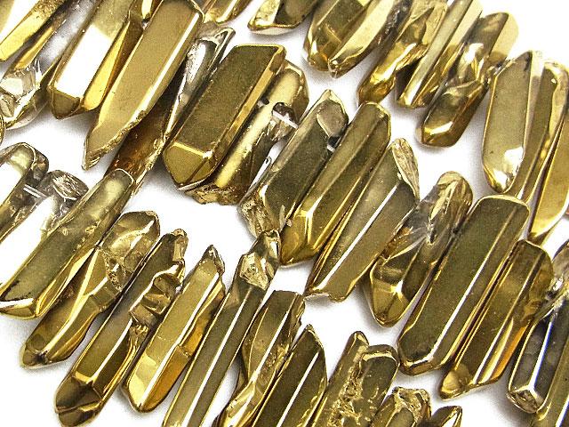 天然石【連販売】レーザークリスタル[ゴールドカラー]【1連 1,400円】ビーズとパワーストーン