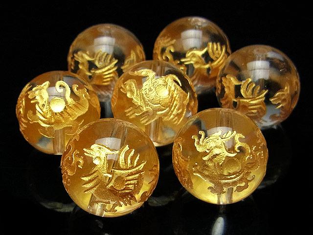 天然石【粒販売】天然水晶 クリスタルクォーツ 四神獣 金色彫刻 丸玉 14mm【1粒販売 490円】ビーズとパワーストーン