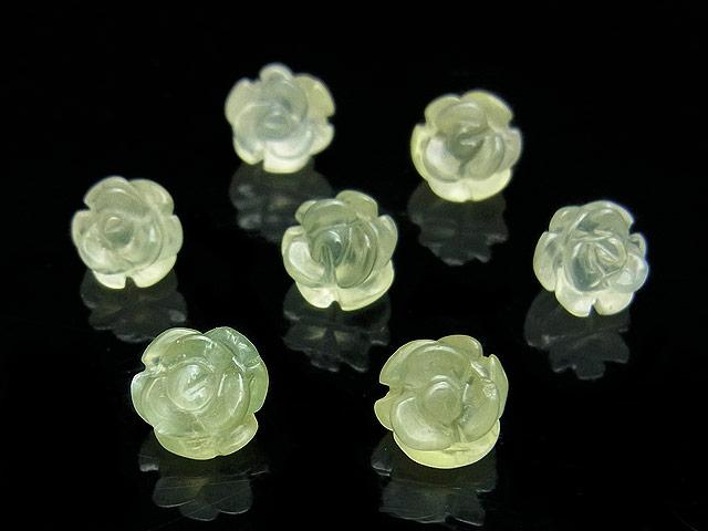 天然石【粒販売】プレナイト 薔薇彫刻 8mm【3粒販売 750円】ビーズとパワーストーン