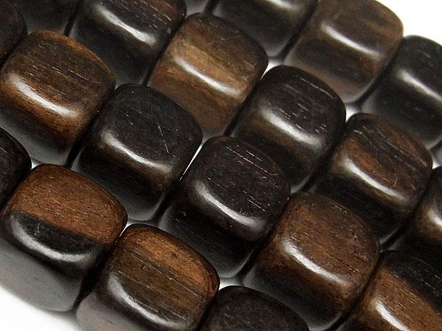 天然石【連販売】[ウッドビーズ]エボニー キューブ 10mm【1連 500円】ビーズとパワーストーン
