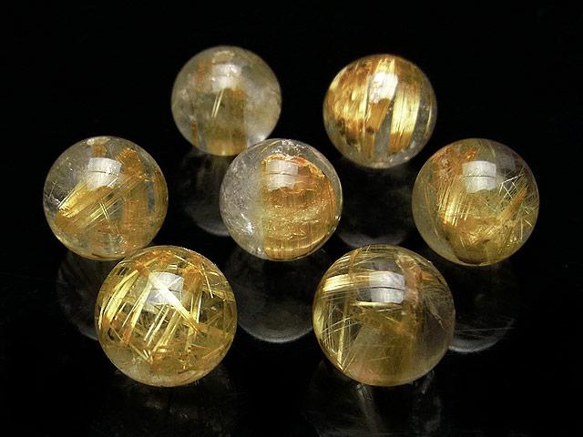 天然石【粒販売】ルチルクォーツ 丸玉 11mm【2粒販売 2,100円】ビーズとパワーストーン
