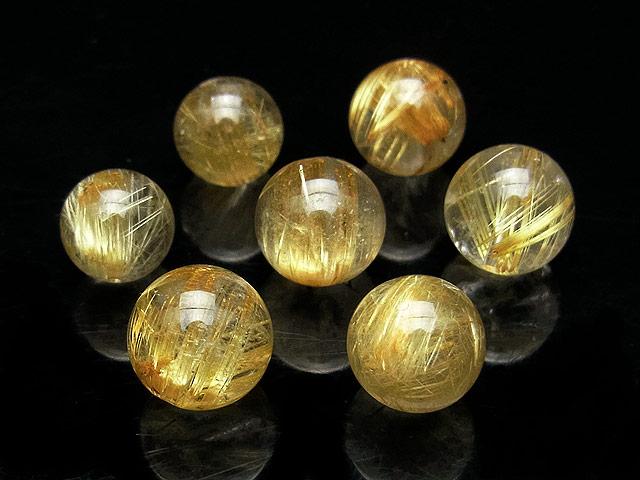 天然石の1点もの粒売りビーズ、パワーストーンも【粒販売】ルチルクォーツ 丸玉 10mm【2粒販売 1,780円】