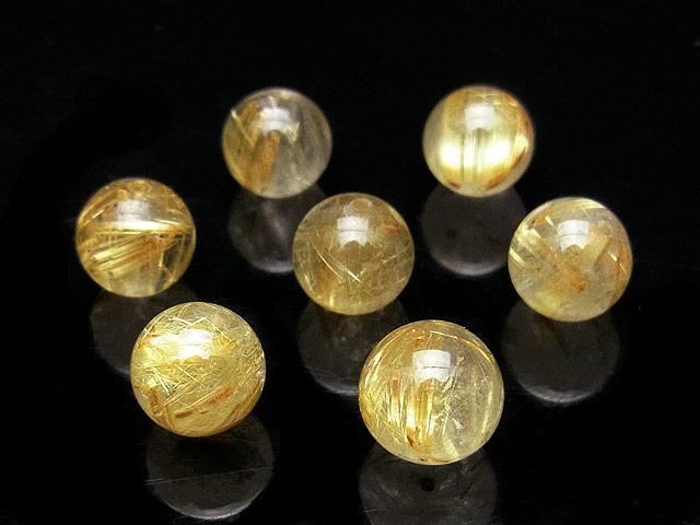 天然石【粒販売】ルチルクォーツ 丸玉 9mm【3粒販売 1,650円】ビーズとパワーストーン