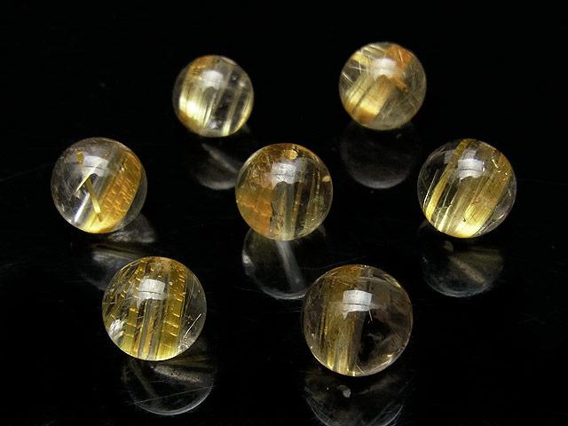 天然石【粒販売】ルチルクォーツ 丸玉 8mm【3粒販売 1,410円】ビーズとパワーストーン