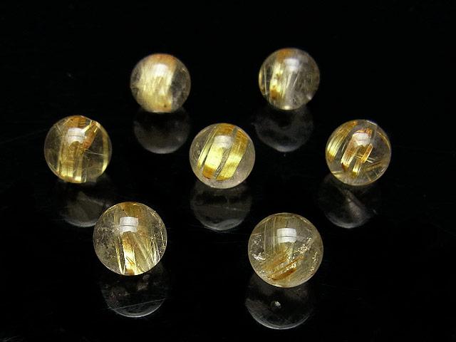 ビーズ天然石【粒販売】ルチルクォーツ 丸玉 7mm【2粒販売 760円】とパワーストーン