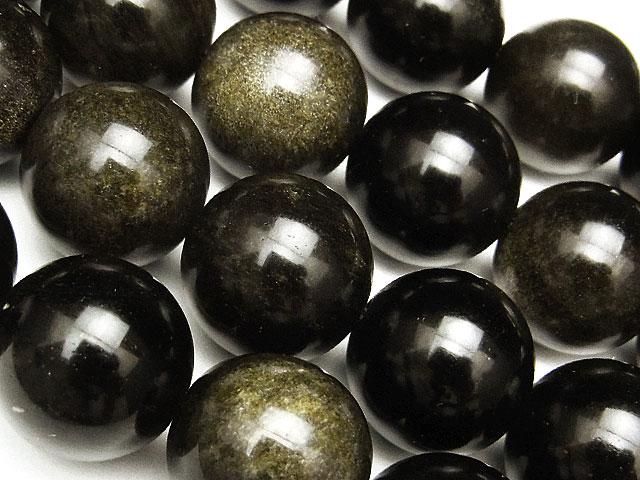 天然石【連販売】ゴールデンオブシディアン 丸玉 14mm【1連 1,000円】ビーズとパワーストーン