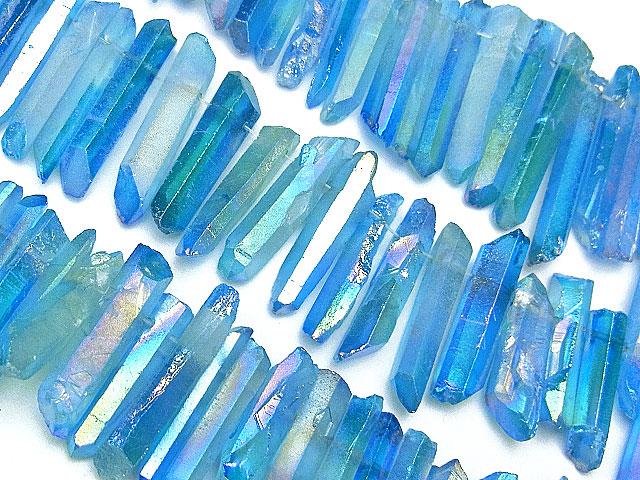 天然石【連販売】レーザーレインボーオーラ[ダークブルーカラー]【1連 1,400円】ビーズとパワーストーン