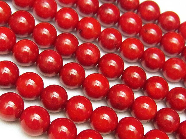 天然石【連販売】レッドコーラル(赤珊瑚) 丸玉 6mm【1連 700円】ビーズとパワーストーン