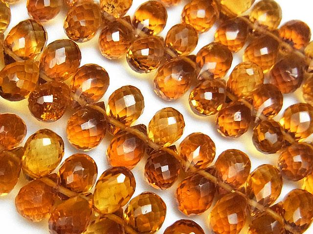 天然石【連販売】ブランデーシトリン ドロップカット 5〜7mm【半連 4,290円〜】ビーズとパワーストーン