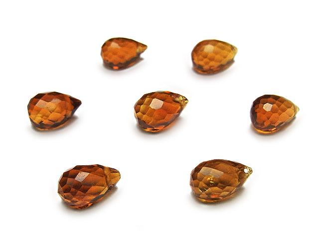 天然石【粒販売】ブランデーシトリン ドロップカット 7〜8mm【4粒販売 680円】ビーズとパワーストーン