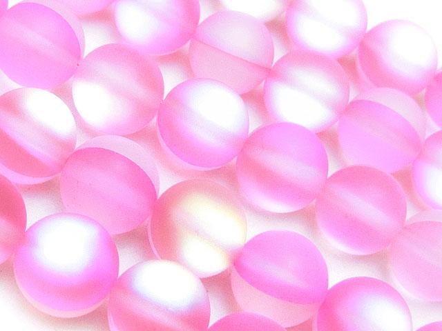 天然石【連販売】フロスト加工 ピンクルナフラッシュ 丸玉 10mm【1連 900円】ビーズとパワーストーン