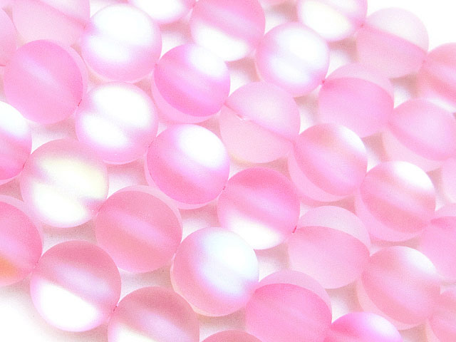 天然石【連販売】フロスト加工 ピンクルナフラッシュ 丸玉 8mm【1連 800円】ビーズとパワーストーン