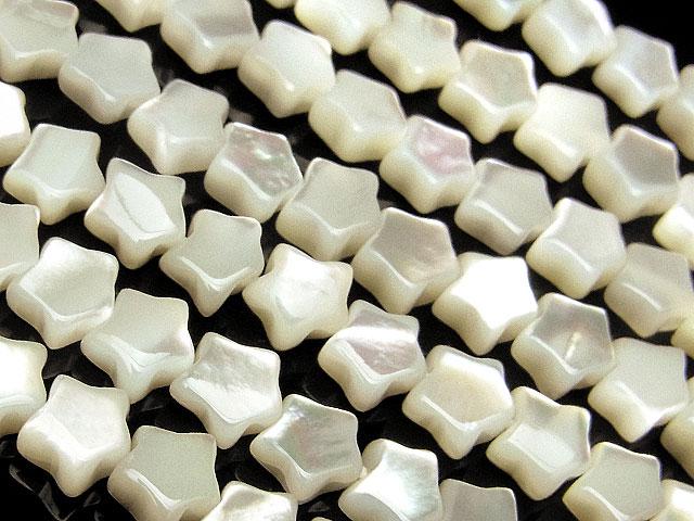 天然石【連販売】ホワイトシェル スター 6×3mm【半連 1,650円〜】ビーズとパワーストーン