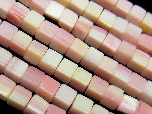 天然石【連販売】クイーンコンクシェル キューブ 4mm【半連 990円〜】ビーズとパワーストーン