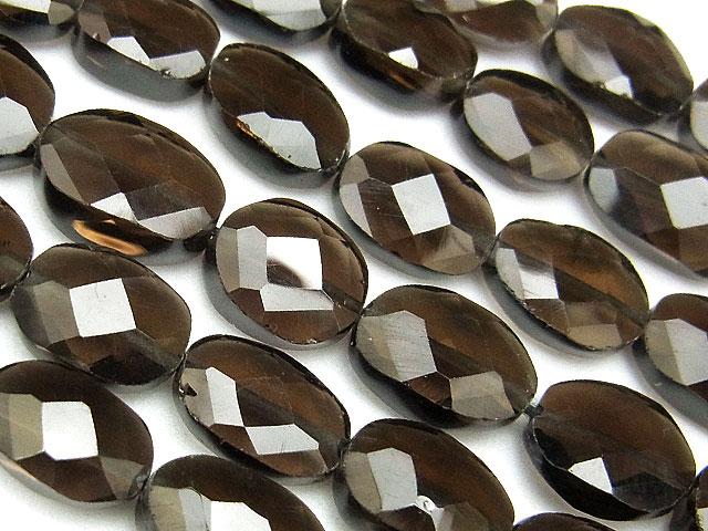 天然石【連販売】スモーキークォーツ オーバルカット 7〜10mm【1連 1,200円】ビーズとパワーストーン