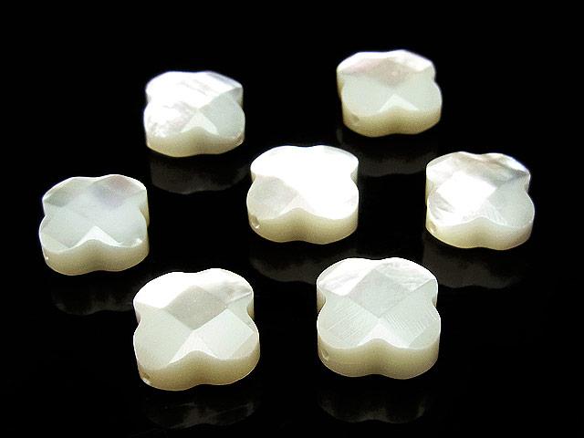 天然石【粒販売】ホワイトシェル クローバーカット 10×4mm【4粒販売 480円】ビーズとパワーストーン