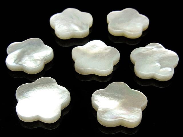 天然石【粒販売】ホワイトシェル フラワー 14×2mm【3粒販売 490円】ビーズとパワーストーン