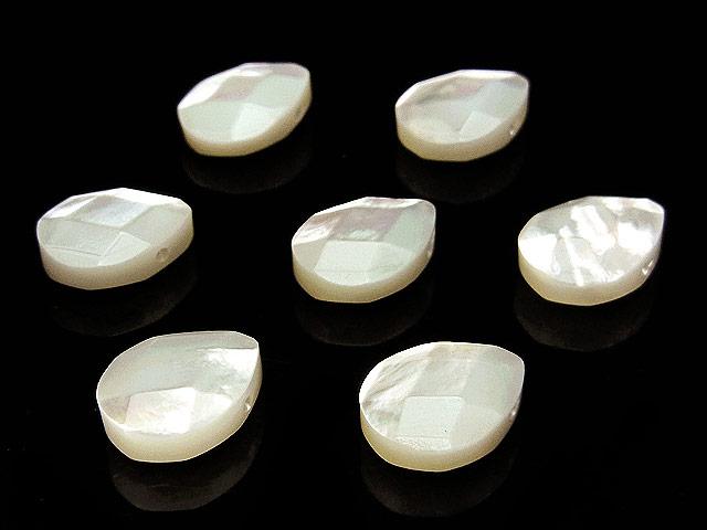 天然石【粒販売】ホワイトシェル ペアシェイプカット 10×8×4mm【4粒販売 480円】ビーズとパワーストーン