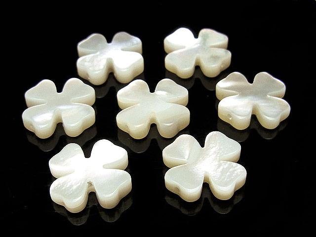 天然石【粒販売】ホワイトシェル クローバー 13×3mm【3粒販売 470円】ビーズとパワーストーン